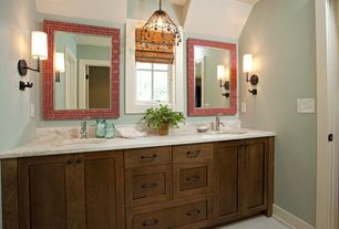 Master Bathroom with Dura Supreme Cabinetry Craftsman Panel, Wall sconce, Master bathroom, Pental calacatta gold honed marble