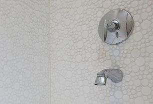 Contemporary Full Bathroom with EliteTile Posh Bubble Random Sized Porcelain Glazed Mosaic in White