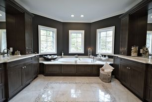 Craftsman Master Bathroom with Dura Supreme Cabinetry Highland Panel, Flush, Crown molding, Flat panel cabinets