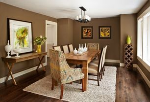 Contemporary Dining Room with Chandelier, Paint, Standard height, Mongolian console table, six panel door, Casement