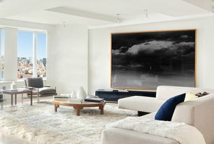 Contemporary Living Room with Urban city view, Built-in bookshelf, Norman Accent Chair, Large scale artwork, Pendant light