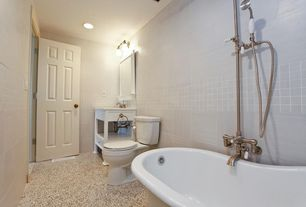Modern Full Bathroom with Standard height, can lights, Carpet, six panel door, tiled wall showerbath, Wall Tiles, Full Bath