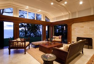 Contemporary Living Room with Columns, Concrete floors, Box ceiling