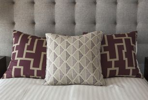 Contemporary Master Bedroom with Tufted headboard, Geometric pillows