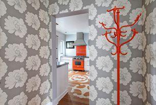 Eclectic Entryway with Standard height, Hardwood floors, interior wallpaper
