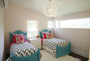 Contemporary Kids Bedroom with Painted bed frame, Chandelier, Hardwood floors