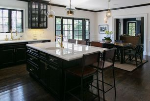 Traditional Kitchen with Wainscotting, Inset cabinets, Simple marble counters, Feiss tabby 1 light mini pendant, French doors