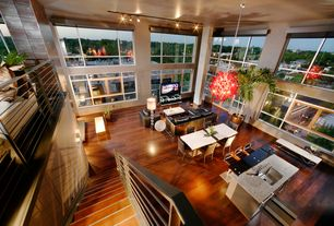 Modern Great Room with Casement, picture window, Cathedral ceiling, Pendant light, French doors, Loft, Hardwood floors