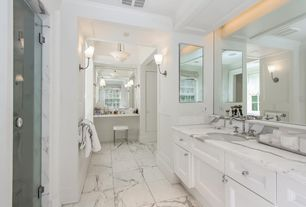 Traditional Master Bathroom with Flush, frameless showerdoor, Undermount sink, flush light, Complex marble counters