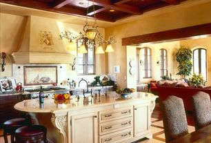 "Mediterranean Kitchen with Standard height, Flat panel cabinets, Wildon Home Perris 24"" Bar Stool, Box ceiling, gas range"