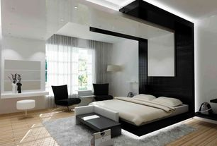 Contemporary Master Bedroom with Safavieh Cozy Solid Silver Shag Rug (5'3 x 7'6), Hardwood floors