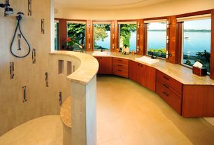 Contemporary Master Bathroom with European Cabinets, Rain shower, Travertine counters, Master bathroom, Double sink, Flush