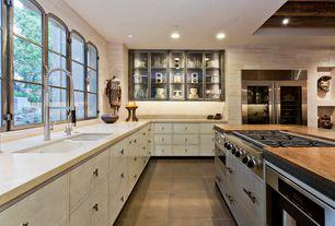 Contemporary Kitchen with sandstone tile floors, Exposed beam, Glass panel, Ms International Juparana Arandis Granite