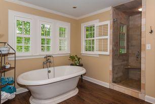 Traditional Full Bathroom with flush light, Full Bath, Casement, frameless showerdoor, Wall Tiles, Hardwood floors, Shower