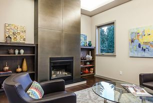 Contemporary Living Room with metal fireplace, Fireplace, specialty window, Built-in bookshelf, Standard height