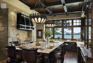 Traditional Kitchen with U-shaped, Eldorado Stone Madrona Cut Coarse Stone, Box ceiling, Custom hood, Pendant light