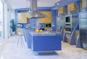 Contemporary Kitchen with picture window, full backsplash, can lights, Breakfast bar, built-in microwave, Flush, Glass bar