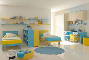 Contemporary Kids Bedroom with Ave six - vista vinyl task office chair, simple marble floors, Built-in bookshelf