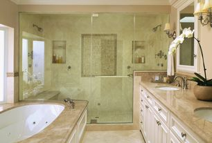 Traditional Master Bathroom with Flush, frameless showerdoor, Limestone, Master bathroom, limestone tile floors, Double sink