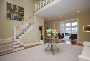 Contemporary Entryway with French doors, Hardwood floors