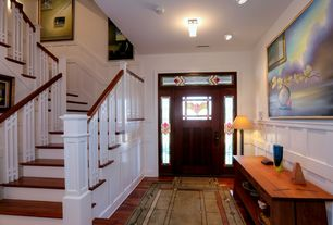 Eclectic Entryway with Standard height, can lights, Glass panel door, Wainscotting, Transom window, Stained glass window