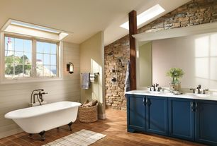 Cottage Master Bathroom with Flat panel cabinets, Clawfoot, Undermount sink, Double sink, Pental thassos quartz, Flush