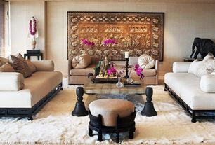 Asian Living Room with sandstone tile floors, High Style Deco Sophisticated Mid-Century Modern Asian Inspired Sofa