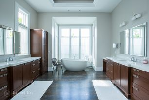 Contemporary Master Bathroom with wall-mounted above mirror bathroom light, Flat panel cabinets, Master bathroom, Flush