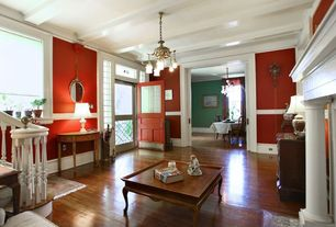 Traditional Entryway with Exposed beam, Chandelier, Chair rail, Hardwood floors, Transom window, Glass panel door