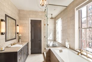 Contemporary Master Bathroom with Bathtub, simple granite floors, double-hung window, Standard height, Flat panel cabinets