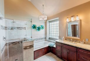 Eclectic Master Bathroom with Undermount sink, Wall Tiles, Flush, Master bathroom, limestone tile floors, Flat panel cabinets