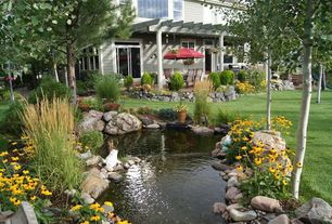 Traditional Landscape/Yard with Transom window, Raised beds, double-hung window, Pond, Trellis, Outdoor kitchen