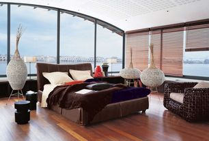 Contemporary Master Bedroom with Window seat, Laminate floors, Adeco [VS0008] Decorative Wood Vase, High ceiling