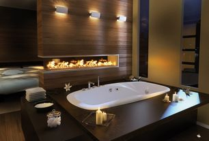 Modern Master Bathroom with Hardwood floors, picture window, Fireplace, Standard height, Wall sconce, other fireplace