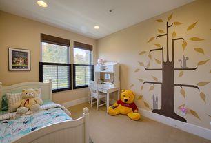 Contemporary Kids Bedroom with Mural, Carpet, Art desk