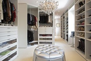 Traditional Closet with Standard height, Chandelier, Custom closet storage, Lumisource round silver tufted pouf ottoman