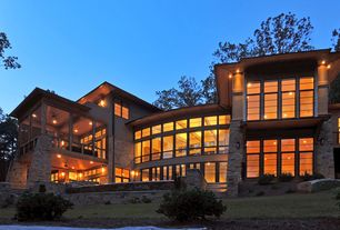 Contemporary Exterior of Home with Lake keowee, south carolina, picture window, Pathway, French doors, Partial stone exterior