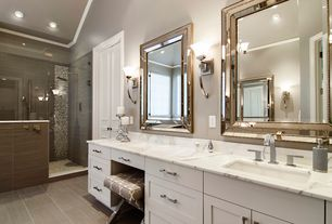 Contemporary Master Bathroom with Wall sconce, Crown molding, can lights, partial backsplash, specialty door, Bamboo floors