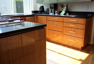 Modern Kitchen with picture window, electric cooktop, Soapstone counters, dishwasher, Standard height, partial backsplash