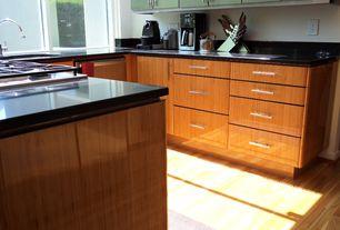 Modern Kitchen with Flush, Glass panel, Soapstone, Undermount sink, U-shaped, Oak - Natural 5 in. Solid Hardwood Wide Plank