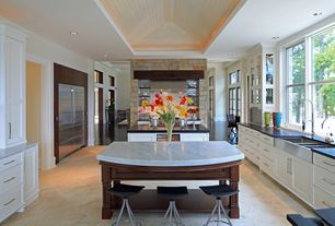 Contemporary Kitchen with LG Hausys HI-MACS-Solid Surface Countertop in Black, French doors, High ceiling, Glass panel