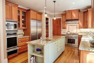 Country Kitchen with Standard height, full backsplash, can lights, Crown molding, Built In Refrigerator, Inset cabinets