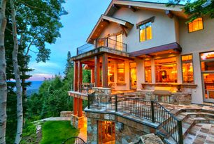 Rustic Deck with Casement, Transom window, Deck Railing, Outdoor kitchen, Pathway, Covered patio, French doors, Gate