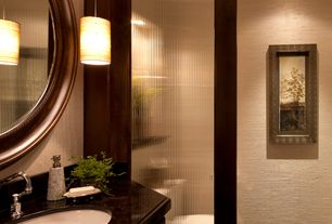 Contemporary Powder Room with Undermount sink, can lights, Tempered glass door, Powder room, partial backsplash, flush light