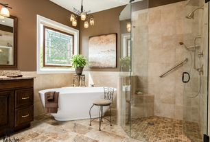 Traditional Master Bathroom with Master bathroom, Simple Granite, Simple granite counters, Flush, Chandelier, Rain shower