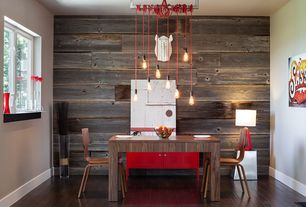 Contemporary Dining Room with Pendant light, Hardwood floors