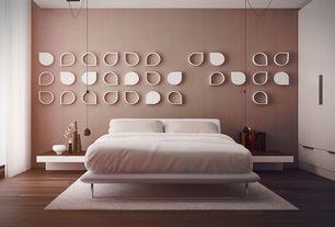 Contemporary Master Bedroom with Platform bed, Pendant light, Laminate floors, Built-in bookshelf, Swag light