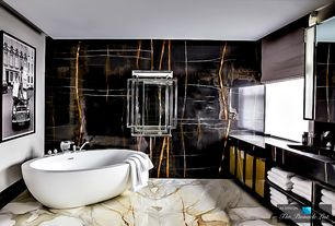 Contemporary Master Bathroom with Flush, complex marble floors, Roman shade, Glass panel, Freestanding, Wall sconce