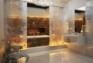 Art Deco Master Bathroom with limestone tile floors, Wall sconce, Master bathroom, Large angel chandelier, Wood counters