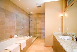 Contemporary Master Bathroom with European Cabinets, Flush, Wall sconce, Simple granite counters, Double sink, Simple Marble